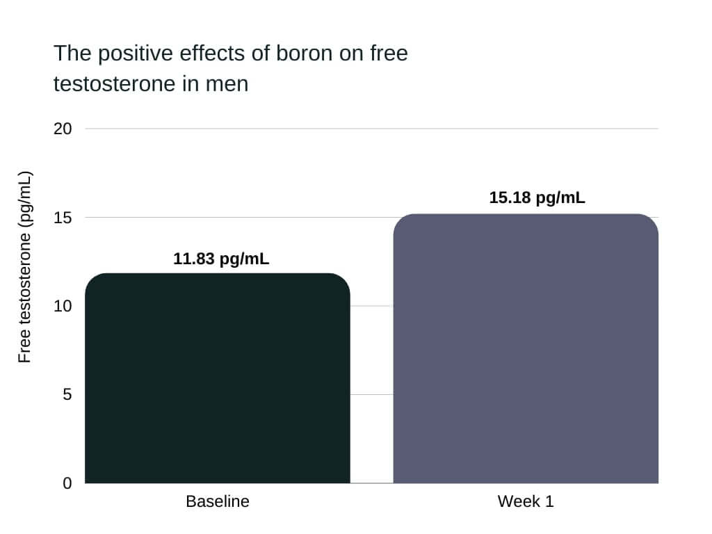 Boron increased free testosterone in male subjects from 11.83 pg/mL to 15.18 pg/mL in just one week